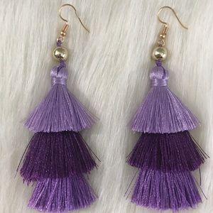 Purple Shade Layered Tassel Earrings